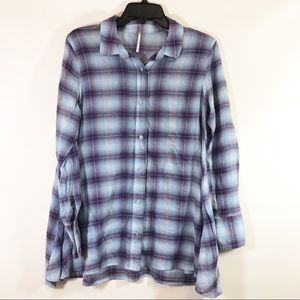 Free People Button Down Plaid Tunic Top sz 4
